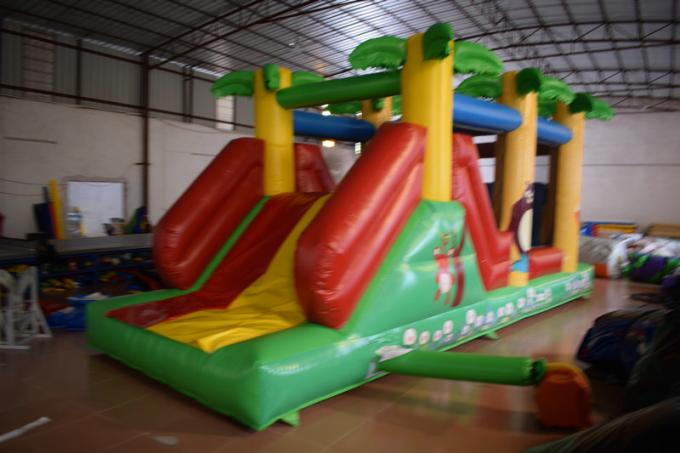 Classic Inflatable Obstacle Courses Forest Animals Palm Trees Lead - Freem Small Size inflatable obstacle course