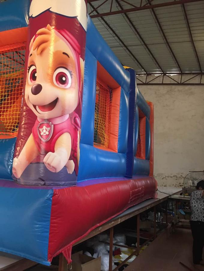 Inflatable patrol paw themed fun city 2018 new inflatable patrol paw fun park jump with slide on sale