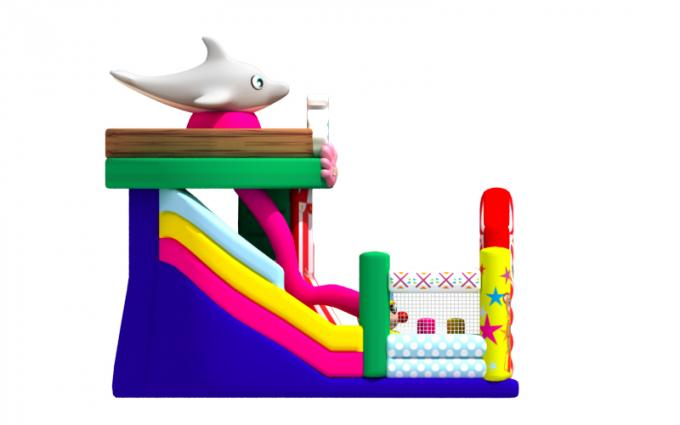 Colourful Inflatable Circus Clown Dolphin PVC Dry Slide With Safety Fence Around