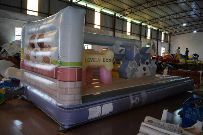 Lovely Doggie Kids Inflatable Bounce House With Slide For Kindergarden Small Inflatable Slide For Kids