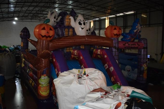 Hallowmas Bouncer Double Slide Scared Inflatable Ghost Jumping Castle With Digital Printing
