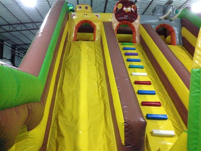Digital Printing Inflatable Jump House / Forest Inflatable Animals Standard Dry Slide For Children Under 15