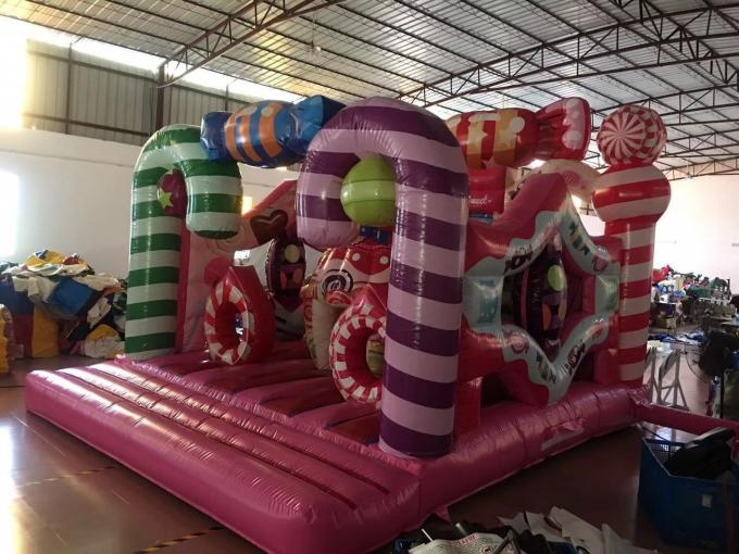 Colourful Inflatable Candyland Jump House For Children 'S Birthday