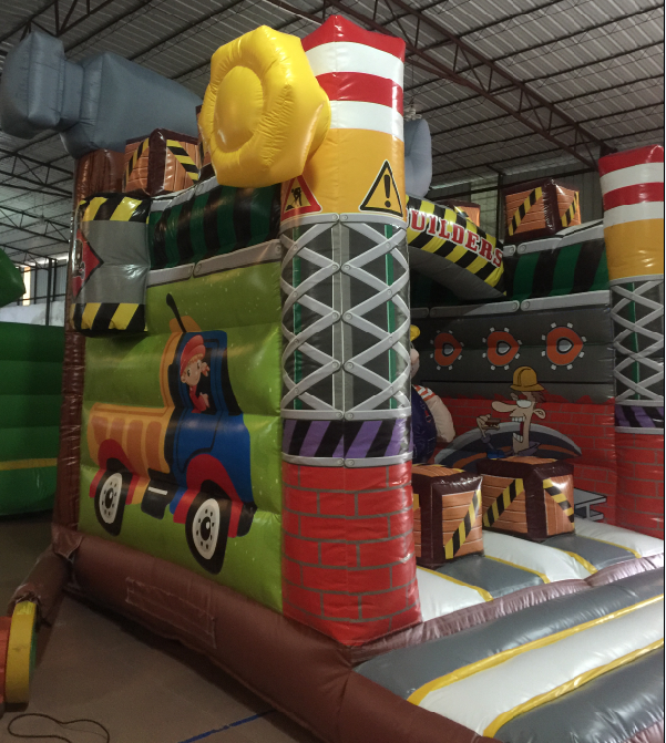 PVC Material Inflatable Construction Themed Bounce House Size 3.5x4.5x4.5m