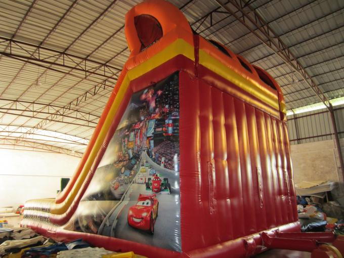 Classic Red Colour Interesting Inflatable Car Slide 0.55mm PVC Tarpaulin Material