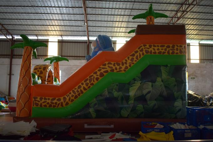Inflatable Safari park bouncy slide PVC inflatable elephant bouncer colourful inflatable palm trees standard slide
