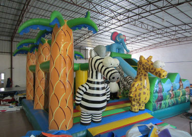 China Hot sale inflatable elephant themed fun city inflatable safari park jumping house with slide on sale supplier