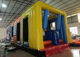 China New design inflatable bus obstacle course inflatable public bus shaped obstacle courses inflatable outdoor games supplier