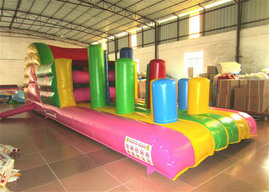 China Inflatable Beach Bouncy Castle Assault Course , Big Party Funny Obstacle Course Jumpers supplier
