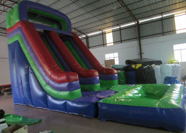 China Dark Green Large Commercial Inflatable Water Slides / Bounce House With Slide supplier