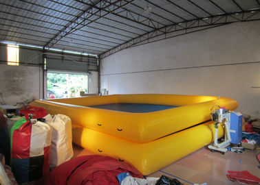 China Two Layer Blue Blow Up Swimming Pools 8 X 6m , Rectangle Large Inflatable Swimming Pool supplier