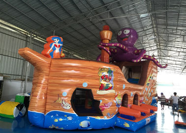 China Attractive Pirate Ship Slide Inflatable , Kindergarten Baby Games Blow Up Pirate Ship supplier