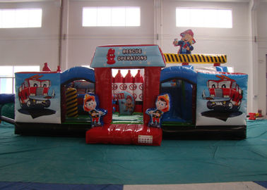 Customized Fire Truck Design Inflatable Fun City Fireproof inflatable fire engine 8 X 6 X 5m In Public