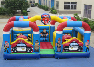 China Outdoor Police Station Design Inflatable Fun City Waterproof For Amusement Park Double jumping area inflatable jumping supplier