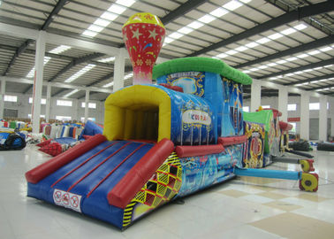 China Colourful Amusement Park Blow Up Bounce House , Outdoor Obstacle Course Moon Bounce Inflattable Tunnel supplier