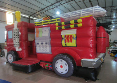 Funny Firetruck Inside Bounce House , Kindergarten Baby Indoor Inflatable Bouncer