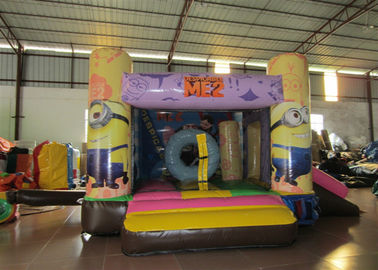 Minions Inflatable Jump House 0.55mm Pvc Tarpaulin 3.8 X 2.8m For Children Party