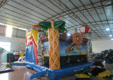 Kids Bouncy Castle With Slide 5 X 6m , Water Park Pirate Ship Baby Jumping Castle