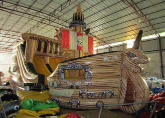 China Big Dinosaur Inflatable Pirate Ship With Slide 12 X 4.4 X 6.7m Enviroment - Friendly supplier