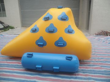 China Yellow And Light Blue Inflatable Water Games , Small Sealed Inflatable Iceberg supplier