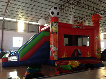 China New inflatable football bouncer house inflatable baseball jump house soccer bouncer with slide on sale supplier