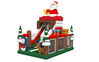 China Christmas Santa Tree Commercial Inflatable Water Slides Dry Type 0.55mm PVC Tarpaulin Material supplier