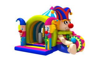 China Lovely Circus Clown Kids Inflatable Bounce House With Slide / Blow Up Jumpers supplier