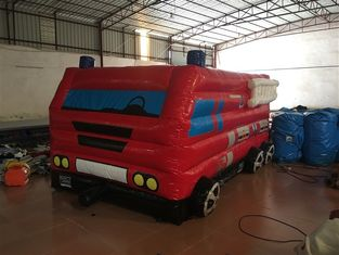 Small Inflatable Fire Truck Bounce House Bus Shaped Red Colour 5 X 3 X 2.5m