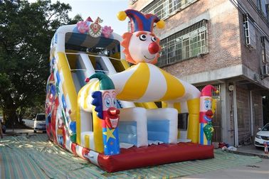 Funny PVC Digital Painting High Inflatable Dry Slide Circus Clown