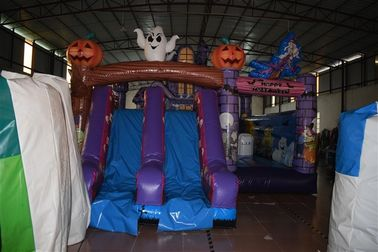 China Hallowmas Bouncer Double Slide Scared Inflatable Ghost Jumping Castle With Digital Printing supplier