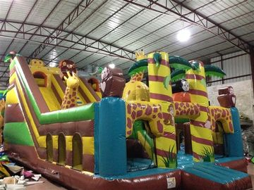 China Digital Printing Inflatable Jump House / Forest Inflatable Animals Standard Dry Slide For Children Under 15 supplier