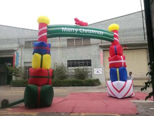 Colorfull PVC Coated Nylon Inflatable Christmas Decorations / Blow Up Arch