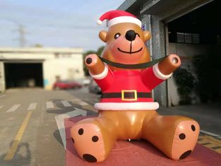 Customized PVC Printing Inflatable Christmas Decorations Bear Catoon For Commercial Show