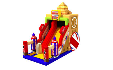 Big Ben Castle PVC Material Inflatable High Dry Slide For 5 - 10 Children