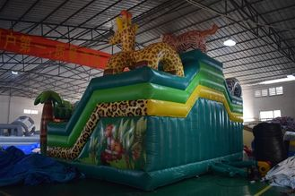 Forest Inflatable Animals Fun City Giraffe Lion Jumping House With Slide