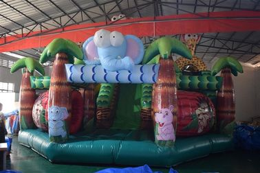 China Forest Inflatable Animals Fun City Giraffe Lion Jumping House With Slide supplier