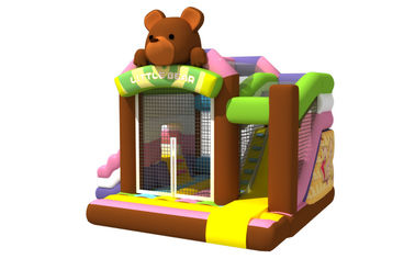 China Multi - Play Cute Inflatable Jump House Combo Brown Bear Double Slide supplier