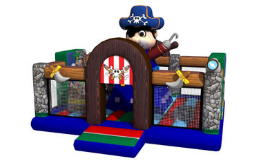 Pirate Themed Kids Inflatable Bounce House Full Printing With Climbing Wall On Middle