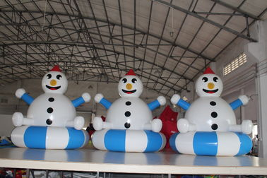 Airtight PVC Customized Inflatable Snowman Decorations Easy To Clean