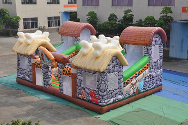 PVC Inflatable Stone Age Fun City Full Painting / Classic Inflatable Safari Jump