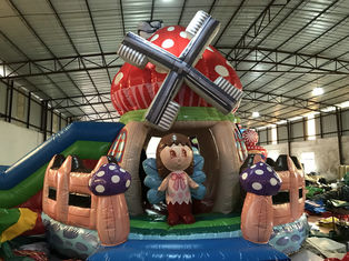 Big Inflatable Mushroom Jumping House With Slide 7-15 Children Capacity