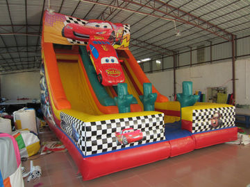China Classic Red Colour Interesting Inflatable Car Slide 0.55mm PVC Tarpaulin Material supplier