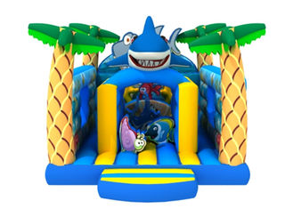 China New inflatable kids house PVC inflatable ocean themed bouncer lovely shark jumping supplier