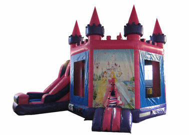 China Attractive Princess Bouncy Castle 5.18 X 4.75 X 4.88m , Blow Up Jump House Double Stitching supplier