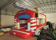 Firetruck Commercial Bounce House Quadruple Stitching  , Inflatable Jumping Castle 5 X 6m