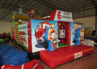 Inflatable Rescue Fire Truck Bouncy Castle Obstacle Course , Obstacle Course Jump House