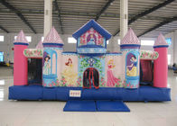 China Pink Inflatable Princess Bounce House , Big Party Inflatable Bouncy Castle 5 X 5.8 X 3m factory
