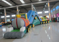Smooth Funny Inflatable Obstacle Courses High Durability 14 X 1.8 X 3.3m Customized