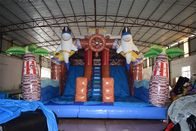 Pirate Themed Dolphins Commercial Inflatable Water Slides For Rental In Amusement Park