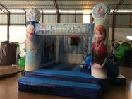 Inflatable Bounce House Combo / Frozen Themed Jump House With Slide For Kids